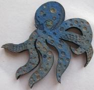 Small Blue Octopus. Suzanne Skaar. Woodcut, paint. 2014.