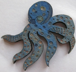 Small Blue Octopus. Suzanne Skaar. Woodcut, paint. 2014.
