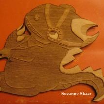 """""""Dinosaur."""" Suzanne Skaar. Wood. 2014."""