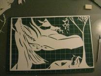 Suzanne Skaar. Untitled work in progress. 12/5/13. Bristol board, X-acto. 11 x 17 in.