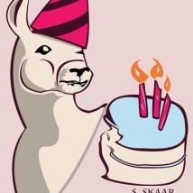 """Birthday Llama."" Suzanne Skaar. Digital illustration. 2015."