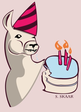 """Birthday Llama."" Suzanne Skaar. Digital illustration. 2015."