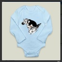"""Penguin Riding a Zebra."" Suzanne Skaar. Long-sleeved Onesie Preview. Available in multiple formats at Boom Boom Prints."