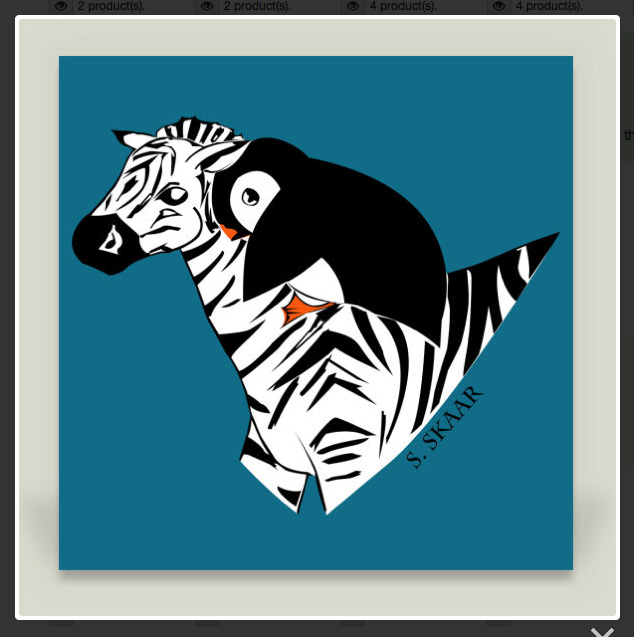 """""""Penguin Riding a Zebra."""" Suzanne Skaar. Canvas Print Preview. Available in multiple formats at Boom Boom Prints."""