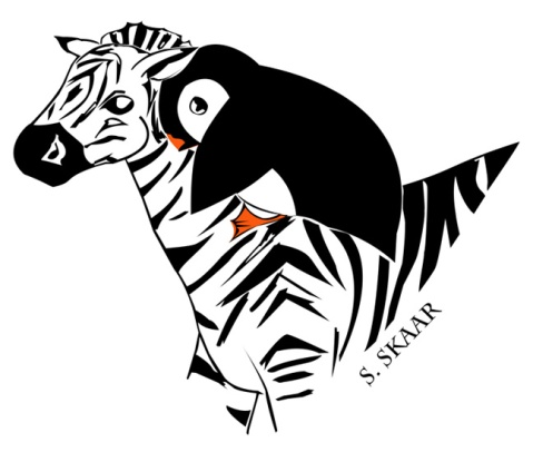 """Penguin Riding a Zebra."" Suzanne Skaar. Digital Illustration. 2015."