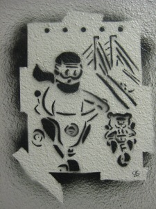Suzanne Skaar. Moped Guy and Tricycle Bear. 2007. Spraypaint & Definitely Not former apartment's wall.