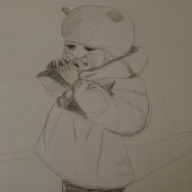"Sketch, ""Isobel and Penguin 2"". Suzanne Skaar. Newsprint, pencil. December 2013."