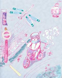 """Suzanne Skaar. """"Dragonfly Swarm."""" Digital Media. Moped Guy Series."""