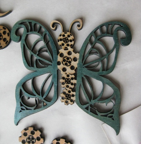 Green Butterfly. Suzanne Skaar. Wood, acrylic, india ink. 2014.