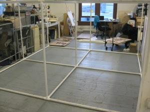 The 10' x 10' x 5' frame upon which the installation will be built, fully utilizing my plot of land in the Jet Artist Collective.