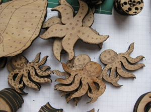 Steampunk Installation In Progress. Suzanne Skaar. Birch, laser cut. 2014.