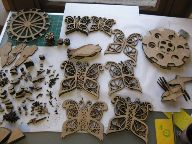 Steampunk Installation Progress as of 7/10/2014. Birch, laser cut. Suzanne Skaar.