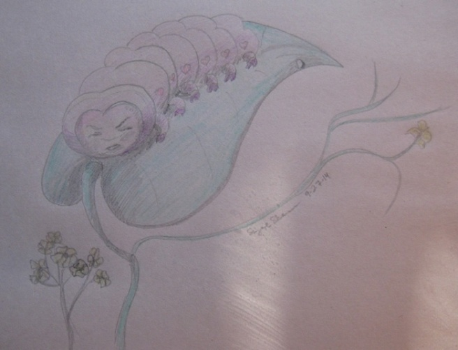 """Grumpypillar."" Suzanne Skaar. 2B Ticonderoga, Crayola colored pencils, newsprint. Work in progress."