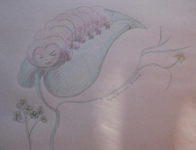 """Grumpypillar."" Suzanne Skaar. 2B Ticonderoga, Crayola colored pencils, newsprint. Work in progress."