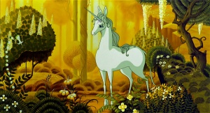 "Promotional photo for Peter S. Beagle's ""The Last Unicorn."" Animation by Studio Topcraft, which later morphed into Studio Ghibli. How cool is that?!"