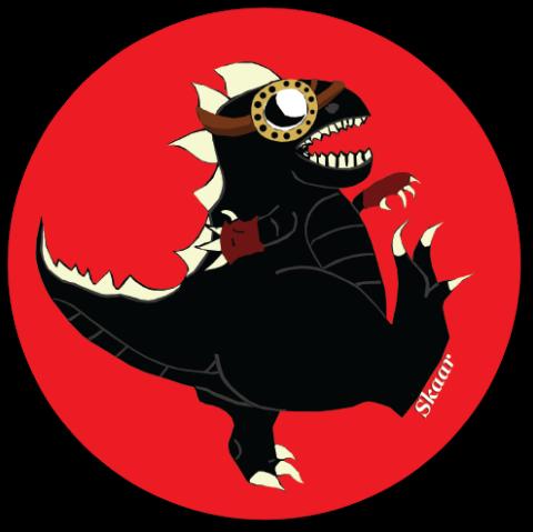 """Dinosaur #1 Sticker. Suzanne Skaar. 5"""" x 5"""". 2014."""
