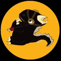 """Dinsoaur # 2 Sticker. Suzanne Skaar. 5"""" x 5"""". 2014."""
