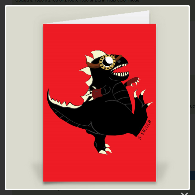"""Dinosaur."" Suzanne Skaar. 5"" x 7"" Greeting Card Preview. Now available at Boom Boom Prints in multiple formats."