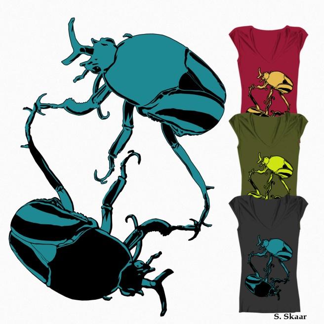 """""""Beetles."""" Suzanne Skaar. Threadless T-shirt design. 2015"""