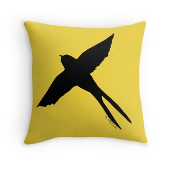 """Swallow"" pillow. Available at http://www.redbubble.com/people/nominestudios/shop"