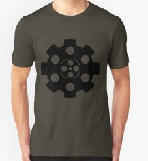 """Gear."" Black. T-shirt. Digital Illustration. S. Skaar."
