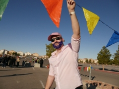 Holding flags up for us so we can get to the staging area. #GlitterBeard