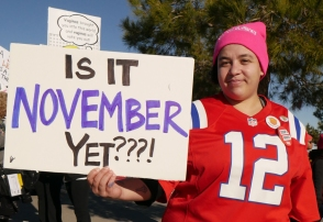 "Attendee holding sign at 2018 Las Vegas Women's Rally: ""Is it November yet?"""