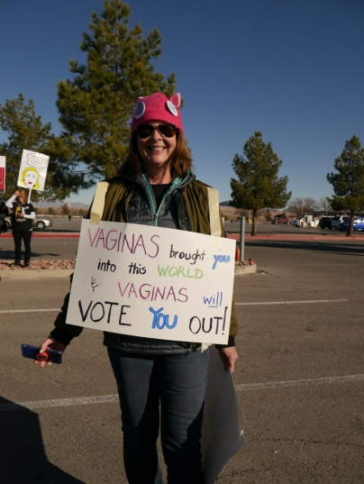 "Attendee holding sign at 2018 Las Vegas Women's Rally: ""Vaginas brought you into this world & vaginas will vote you out."""