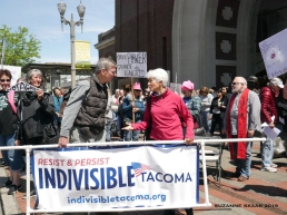 Indivisible Tacoma helped get the word out for a local protest in conjunction with national efforts by Planned Parenthood and NARAL Pro-Choice.