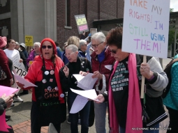 The Raging Grannies were on hand to encourage us to speak up and sing out.