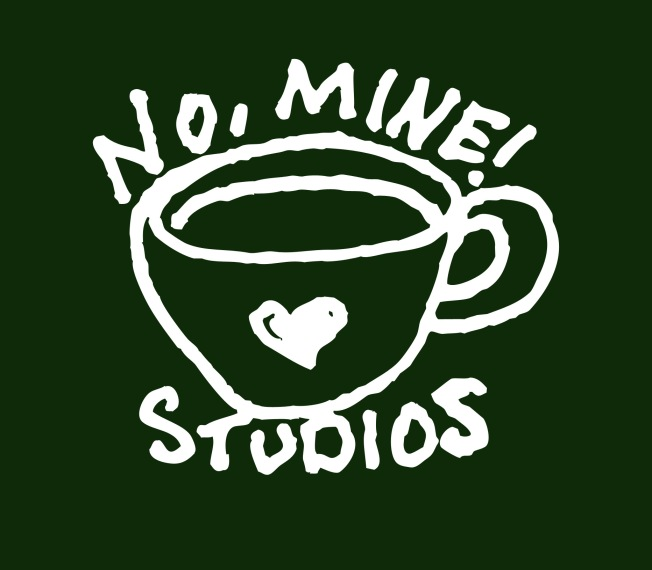 Illustration of coffee mug with heart and No, Mine! Studios. Suzanne Skaar 2019