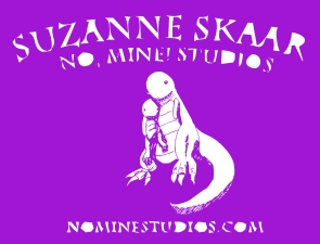 "Illustration titled ""Some Days"", originally drawn in 2014 but reworked into logo which reads: ""Suzanne Skaar No, Mine! Studios nominestudios.com"" Suzanne Skaar 2019"