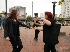 Studio 6 Ballroom dancers perform in a West Coast Swing flash mob at the KNKX grand opening in the Broadway District -- Tacoma, WA. Photo by Suzanne Skaar: 2019. All rights reserved.