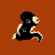 Mini Dino Pixel Art (side view). Suzanne Skaar. 2020. All rights reserved.